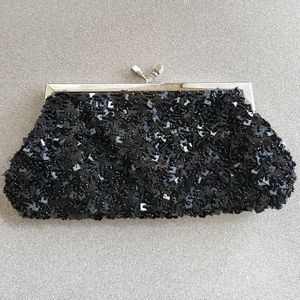 Handbags - Black beaded sequin evening shoulder bag clutch